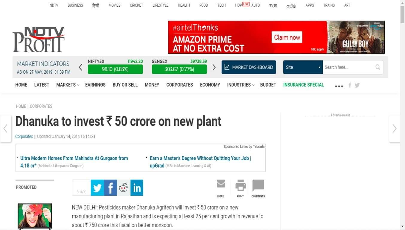 NDTV Profit - Dhanuka to invest Rs. 50 crore on new plant