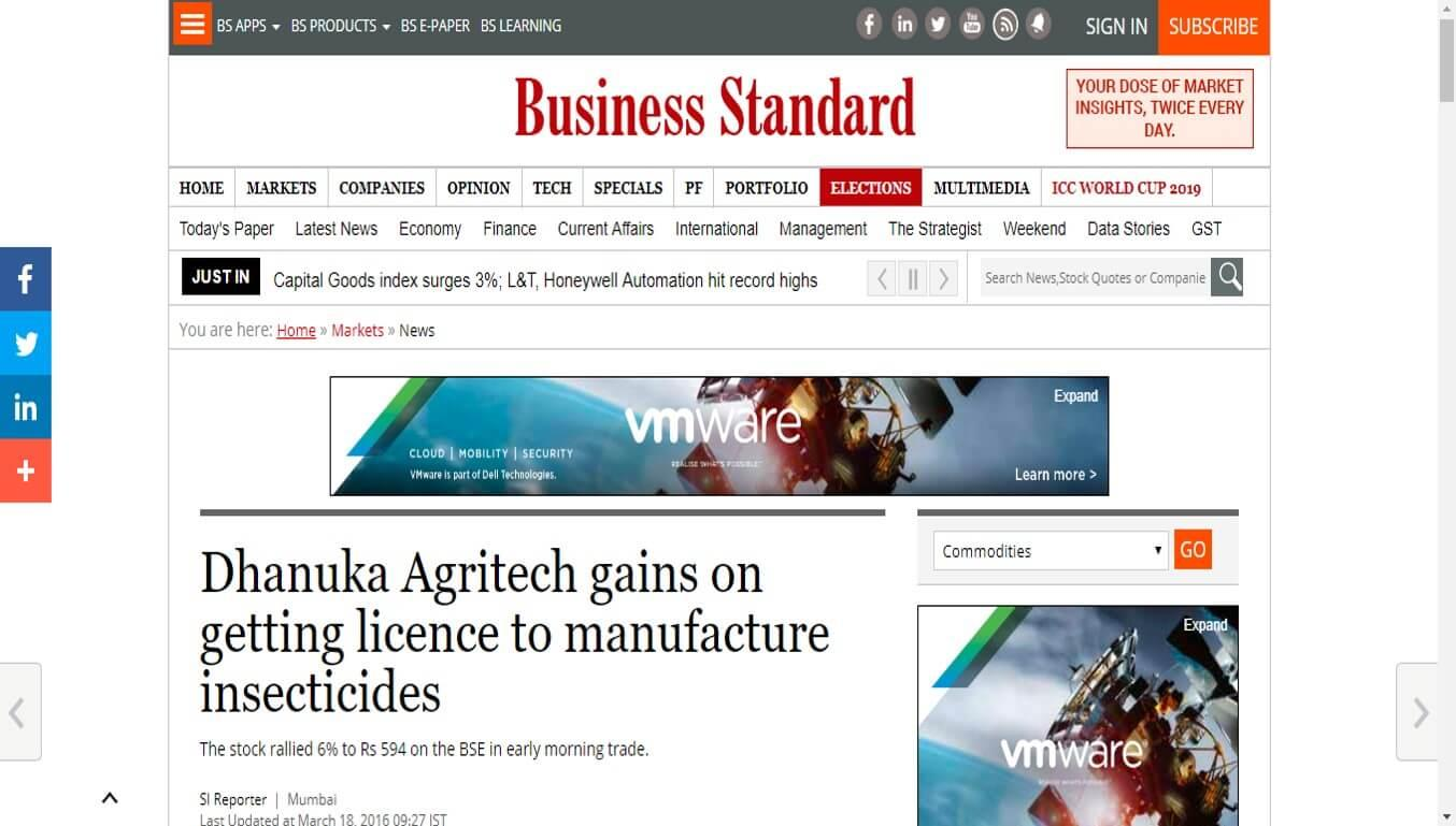 Business Standard - Dhanuka Agritech gains on getting licence to manufacture insecticides