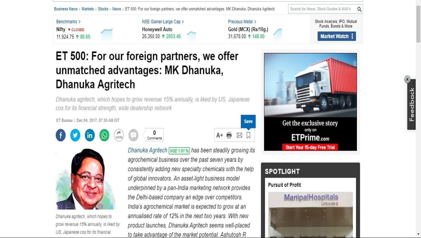 ET 500: For our foreign partners, we offer unmatched advantages: MK Dhanuka, Dhanuka Agritech