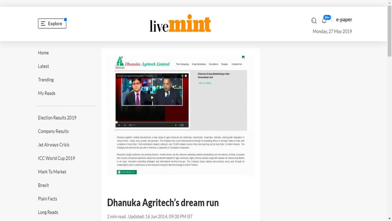 livemint - Dhanuka Agritech's dream run