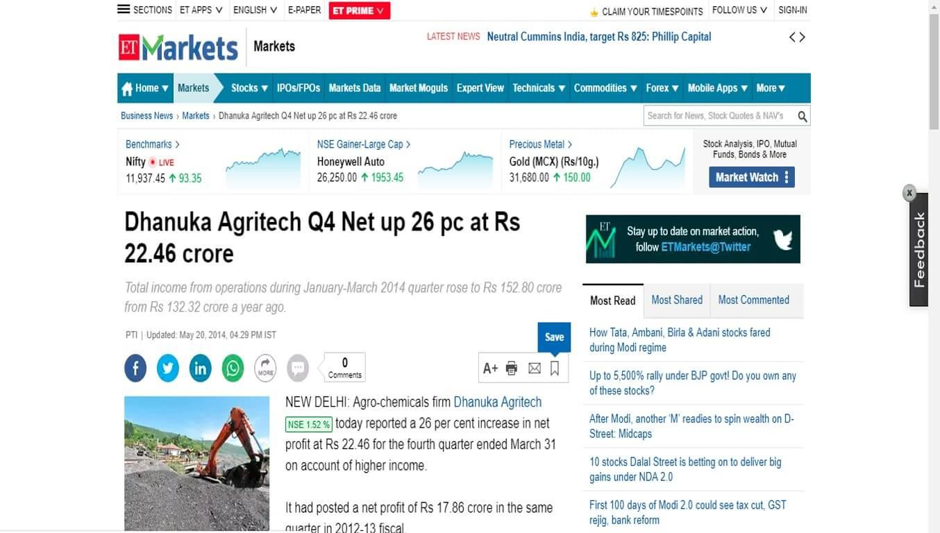 ET - Dhanuka Agritech Q4 Net up 26 pc at Rs 22.46 crore