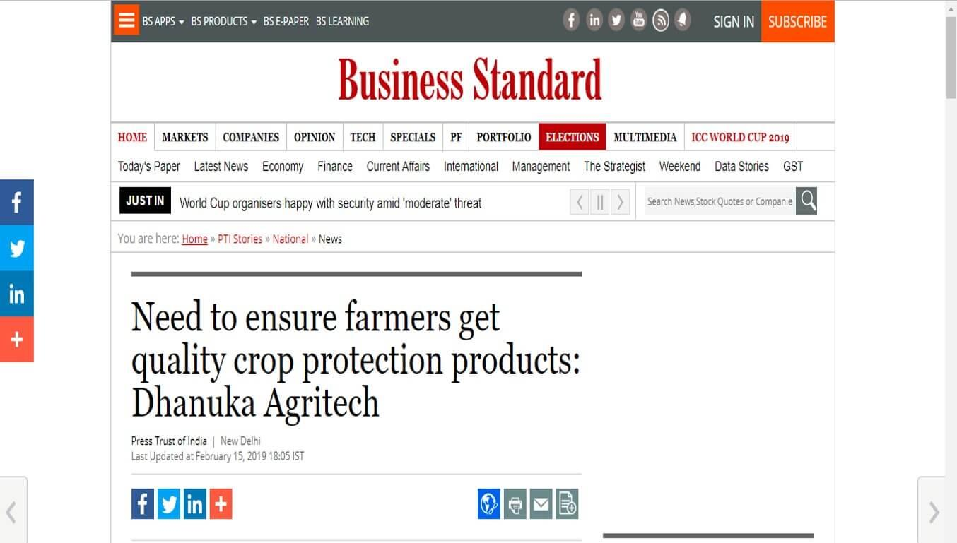 Need to ensure farmers get quality crop protection products: Dhanuka Agritech