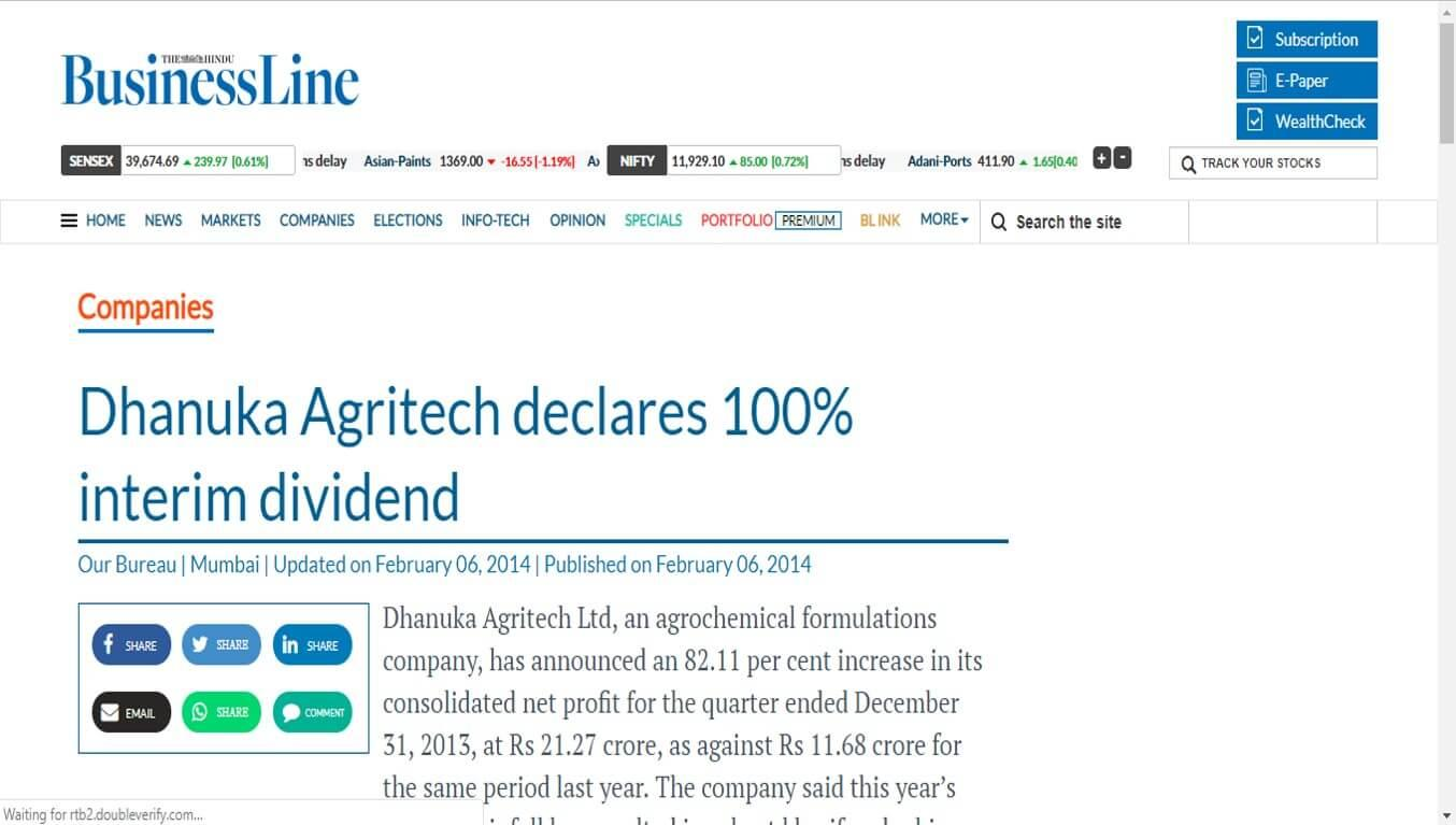 Business Line - Dhanuka Agritech declares 100% interim dividend