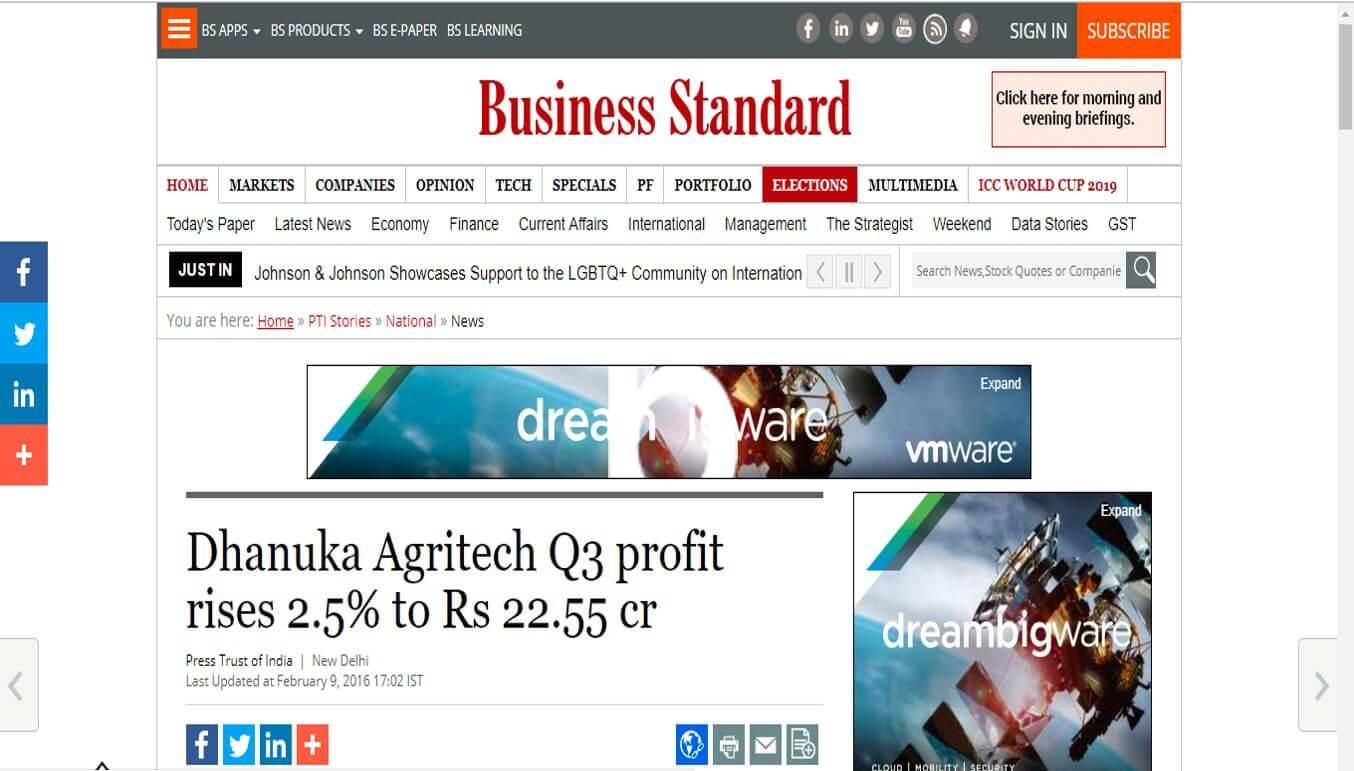 Business Standard - Dhanuka Agritech Q3 profit rises 2.5% to Rs 22.55 cr