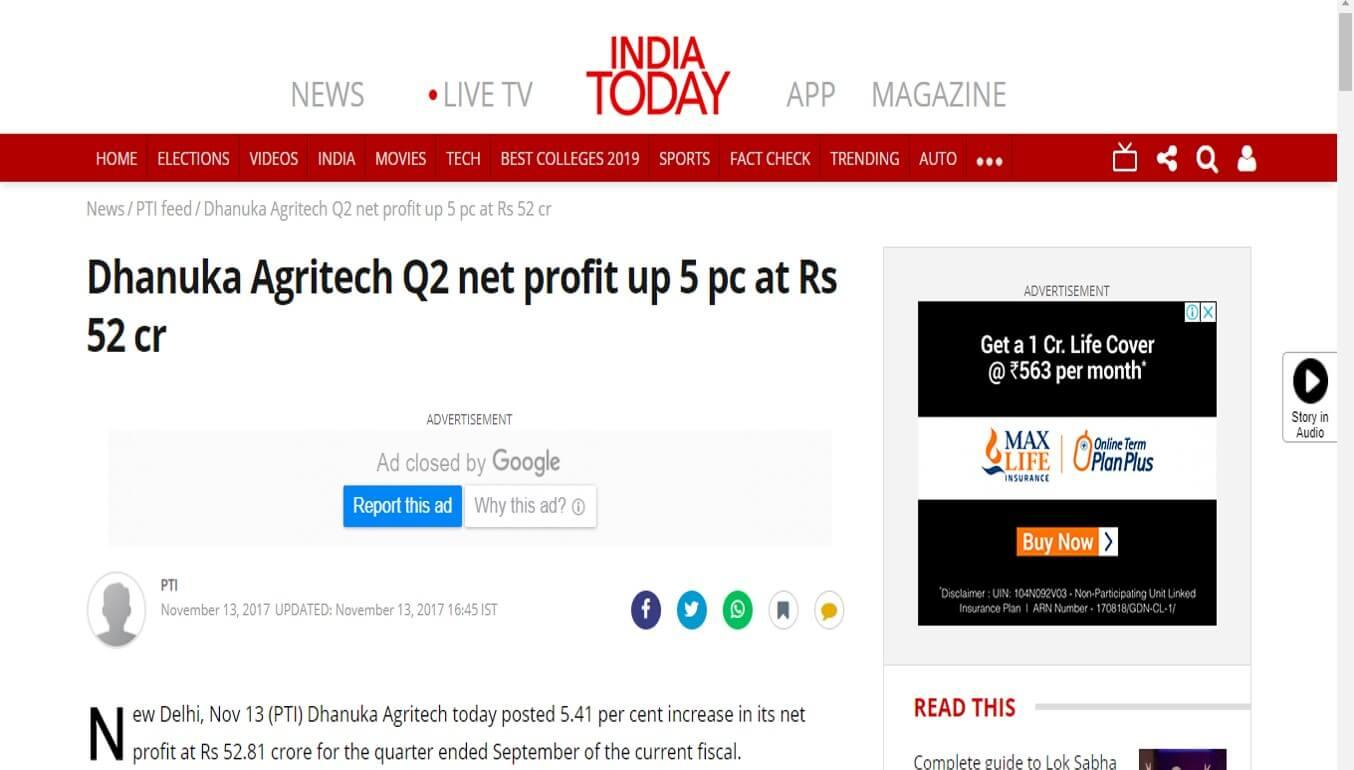 India Today - Dhanuka Agritech Q2 net profit up 5 pc at Rs 52 cr