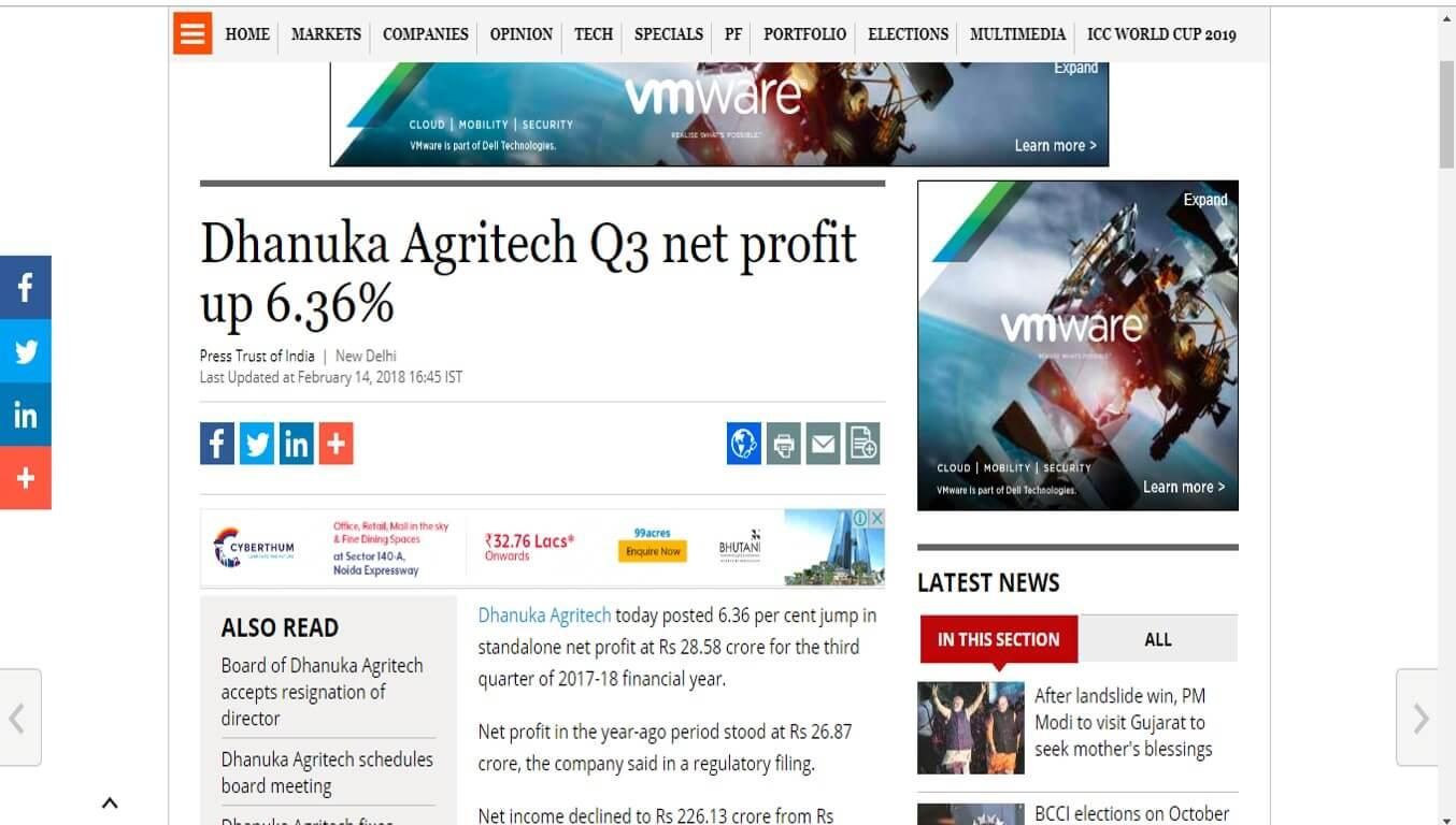 Business Standard - Dhanuka Agritech Q3 net profit up 6.36%`