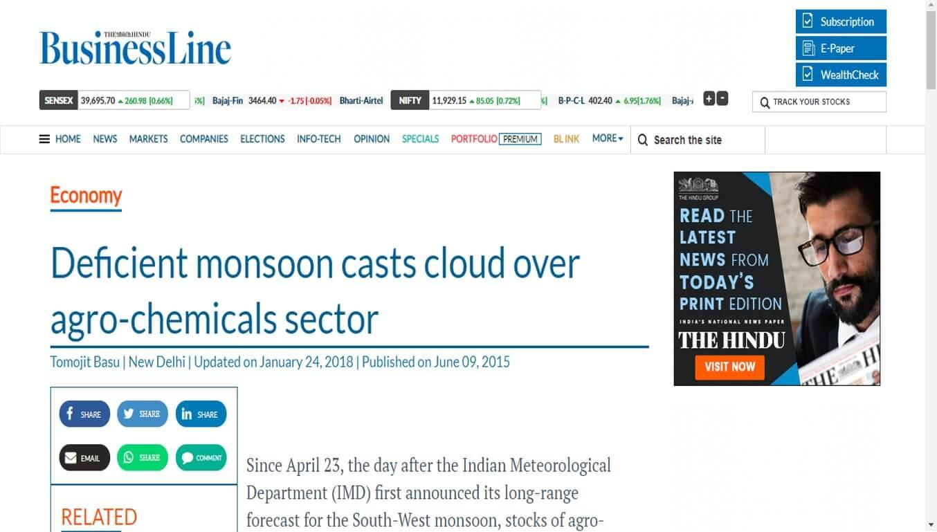 Hindu Business Line - Deficient monsoon casts cloud over agro-chemicals sector