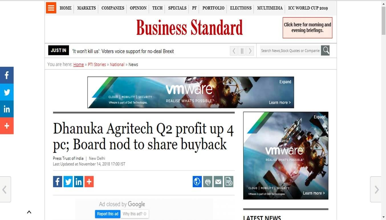 Business Standard - Dhanuka Agritech Q2 profit up 4 pc; Board nod to share buyback