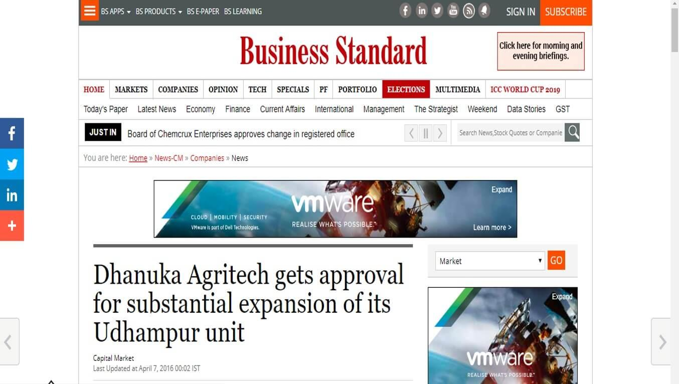 Business Standard - Dhanuka Agritech gets approval for substantial expansion of its Udhampur unit