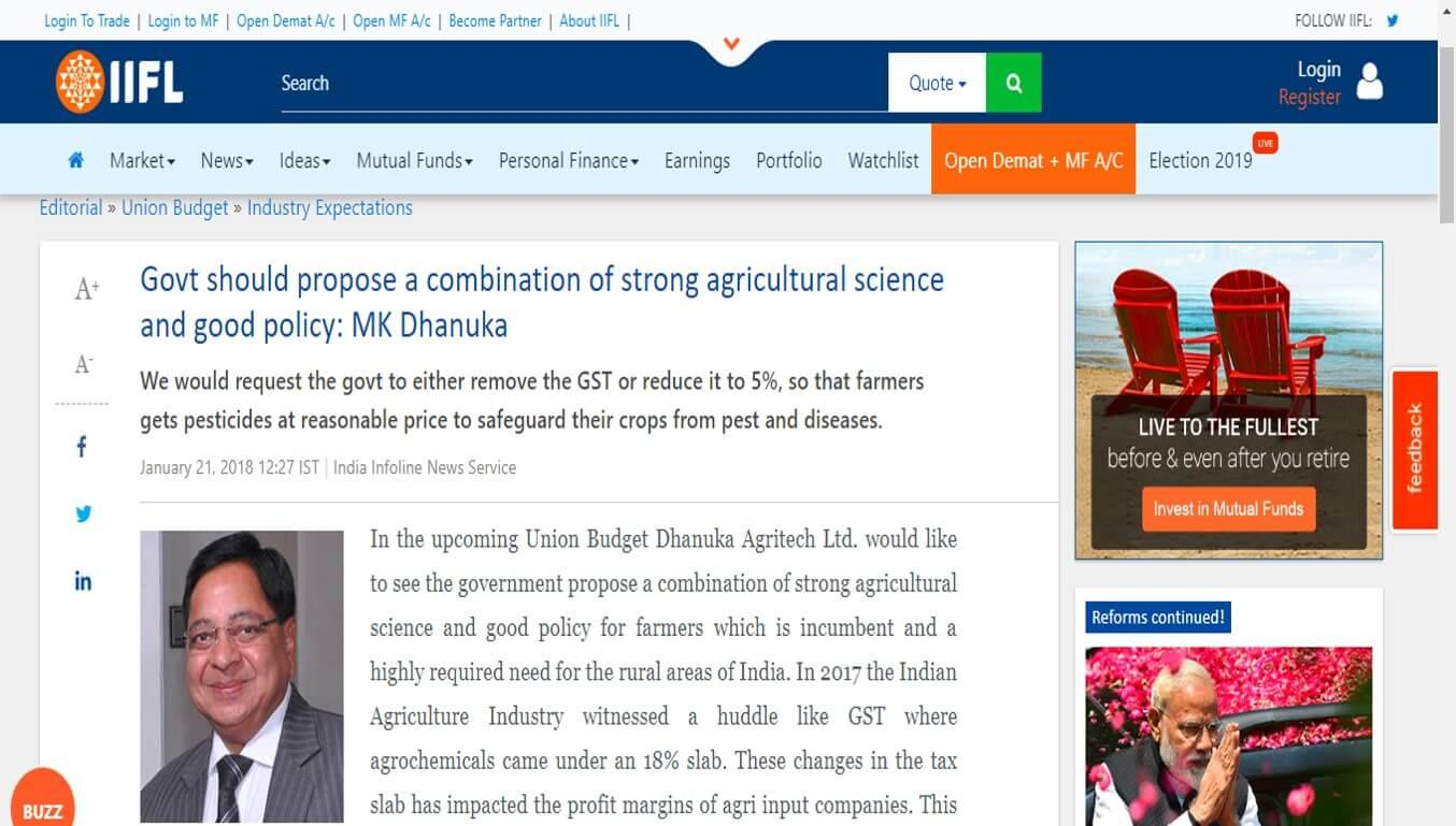IndiaInfoline - Govt should propose a combination of strong agricultural science and good policy: MK Dhanuka