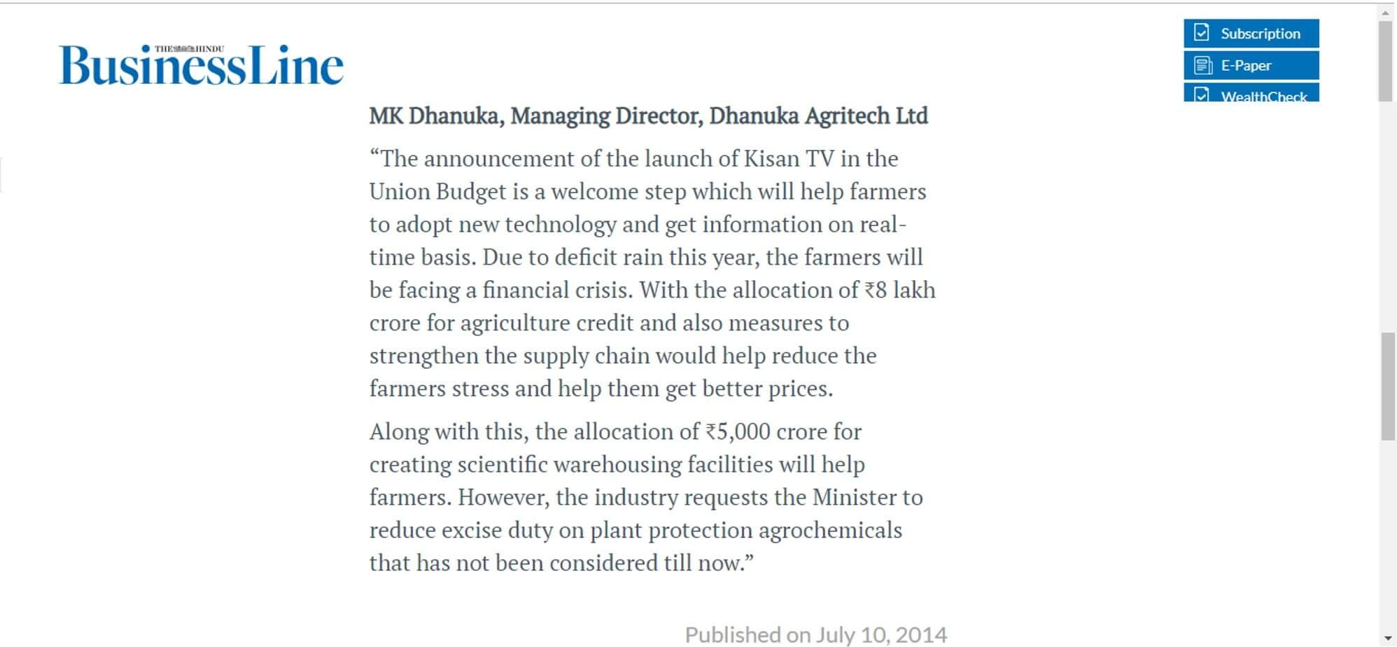 Business Line- Attempts to address all facets of farming