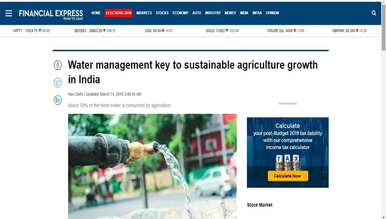 Water management key to sustainable agriculture growth in India