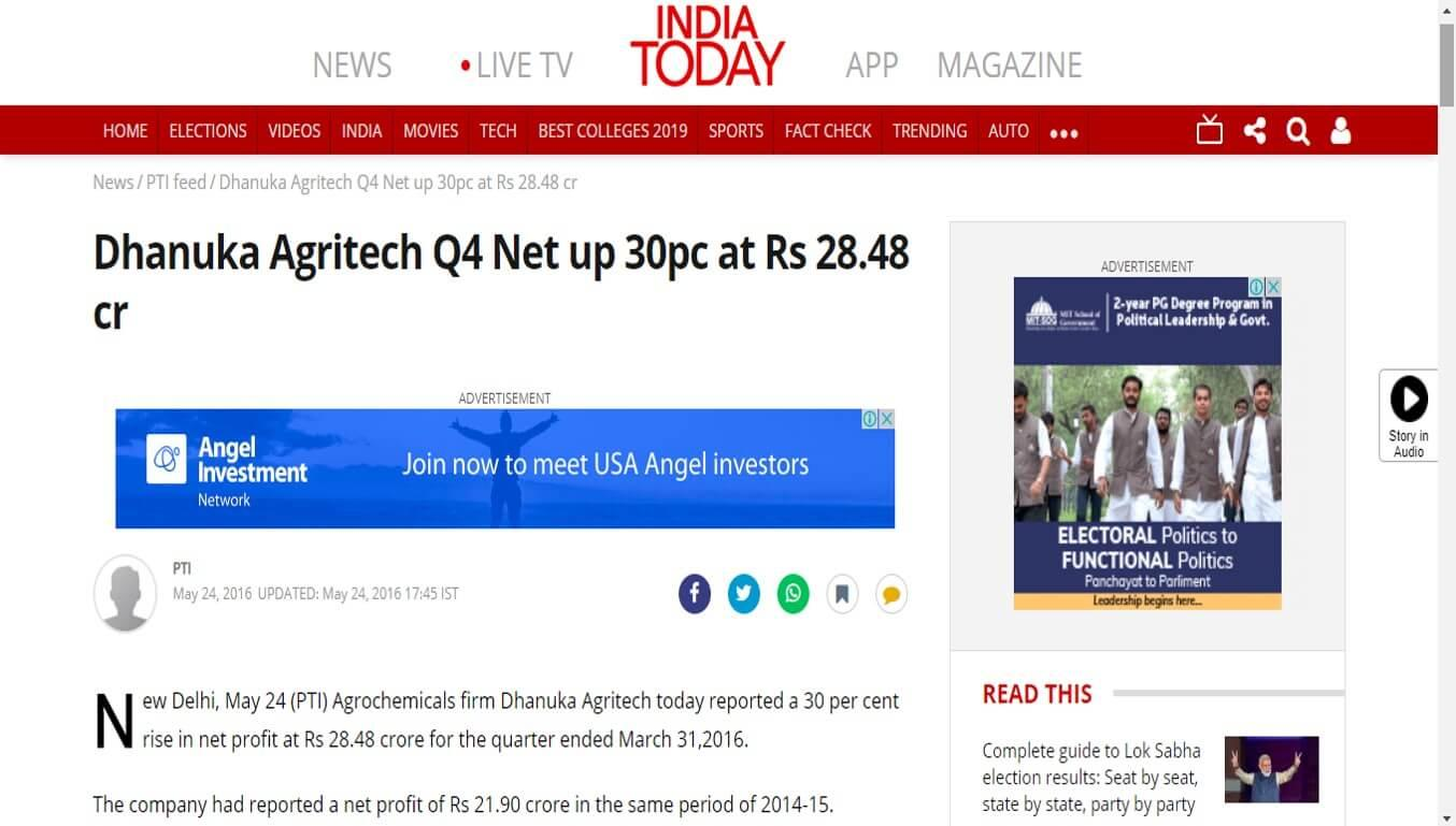 India Today - Dhanuka Agritech Q4 Net up 30pc at Rs 28.48 cr