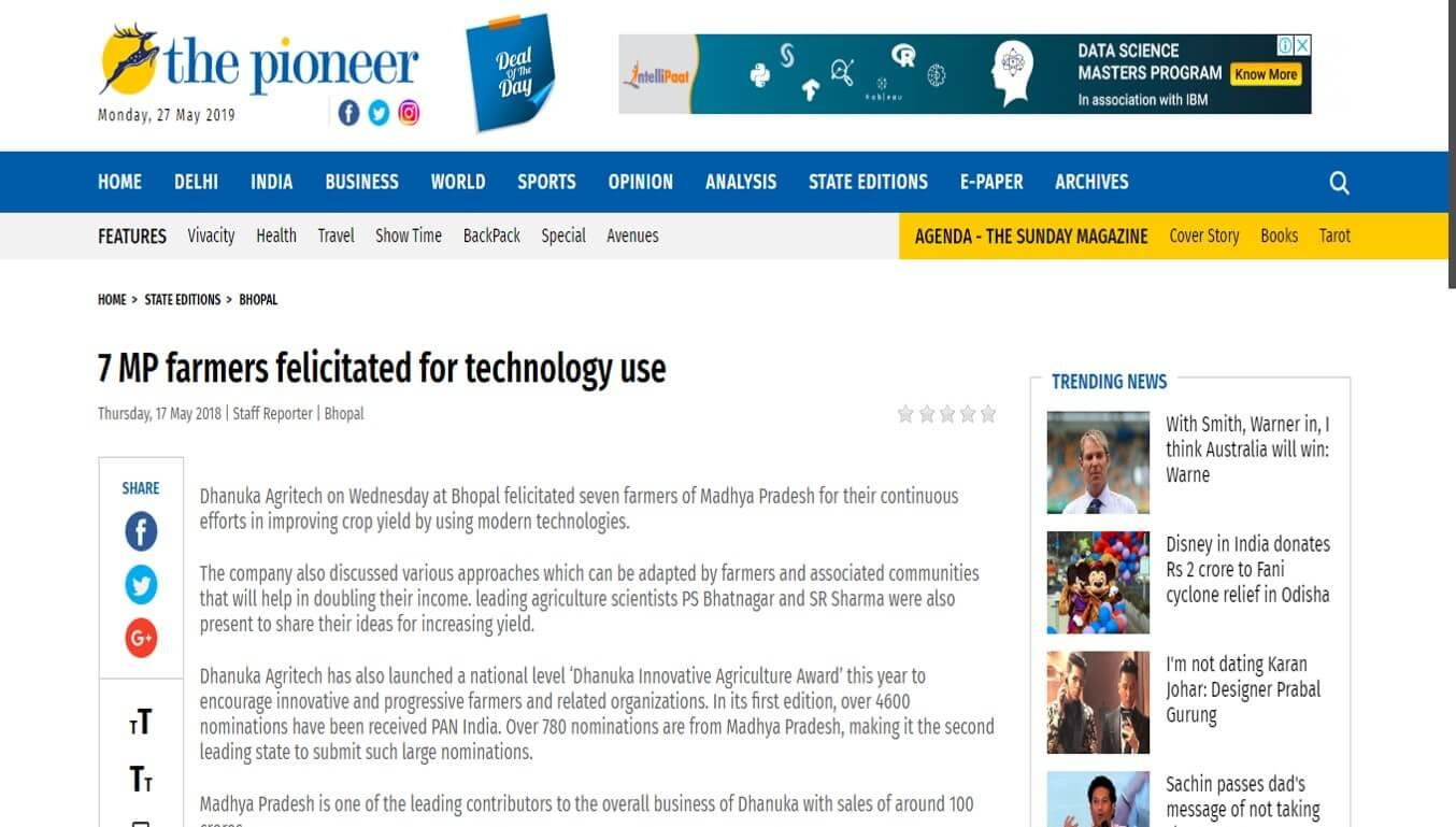 Daily Pioneer - Dhanuka - 7 MP farmers felicitated for technology use