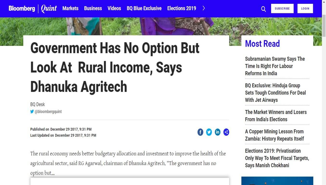 Bloomberg - Government Has No Option But Look At  Rural Income, Says Dhanuka Agritech