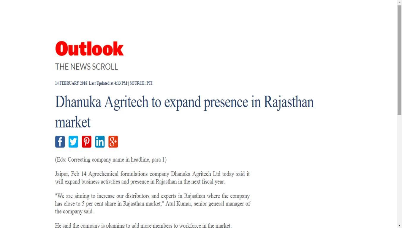 Outlook India - Dhanuka Agritech to expand presence in Rajasthan market