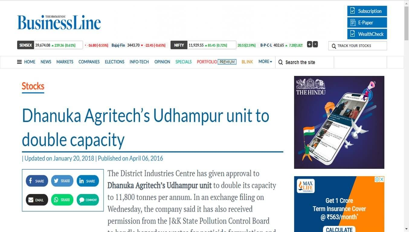 Hindu Business Line - Dhanuka Agritech's Udhampur unit to double capacity