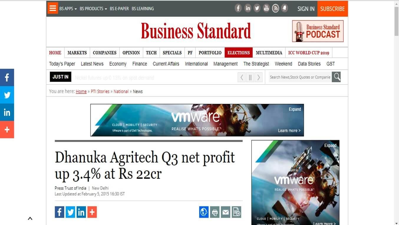 Business Standard - Dhanuka Agritech Q3 net profit up 3.4% at Rs 22cr