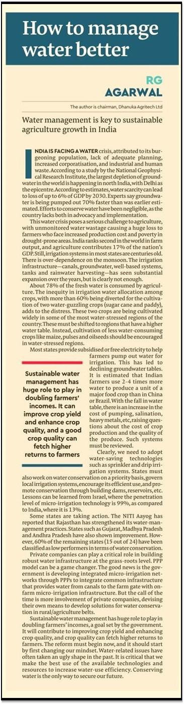 2019 Financial Express - Water Management key to sustainable agriculture growth