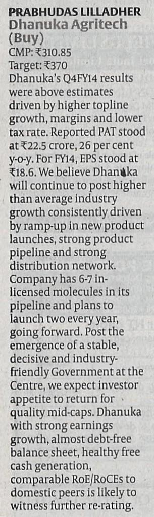 2014 Hindu Business Line  - Q4 Financial Results