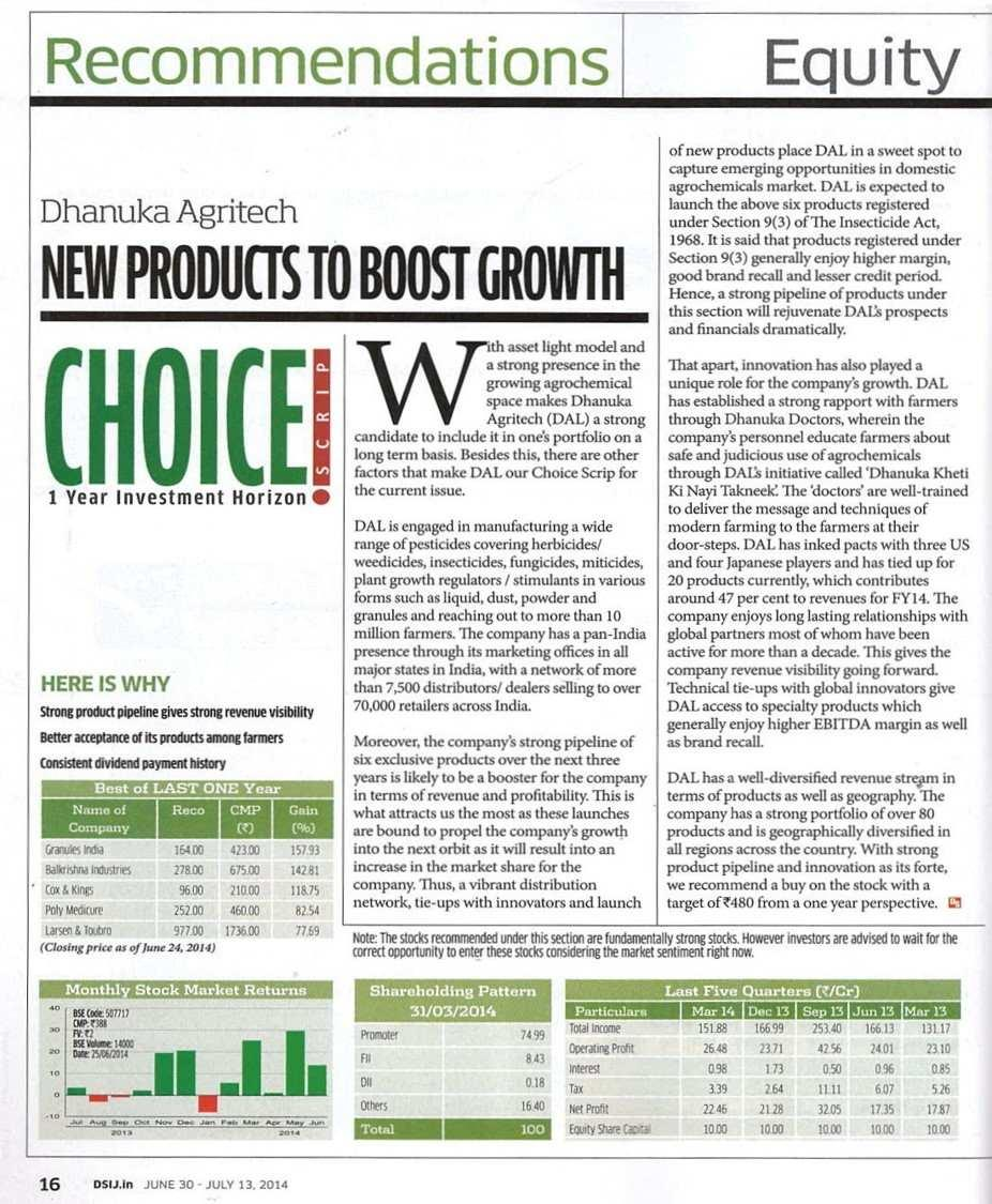 2014 Dalal Street Magazine - New products to boost growth