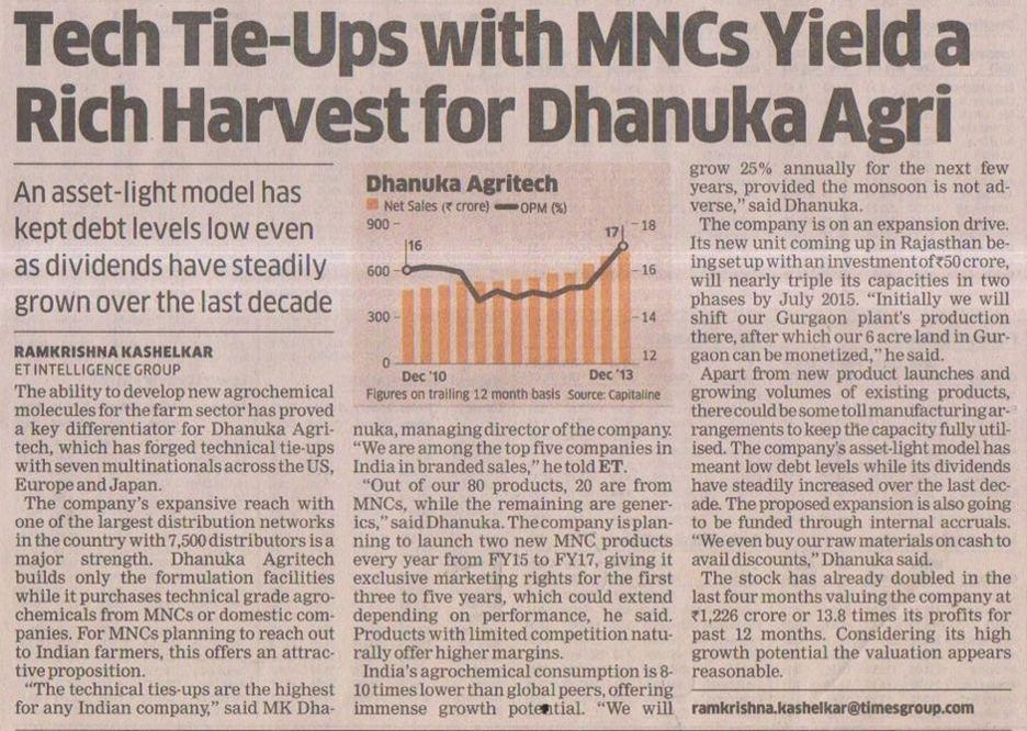 2014 Economic Times - Tech Tie-Ups with MNCs