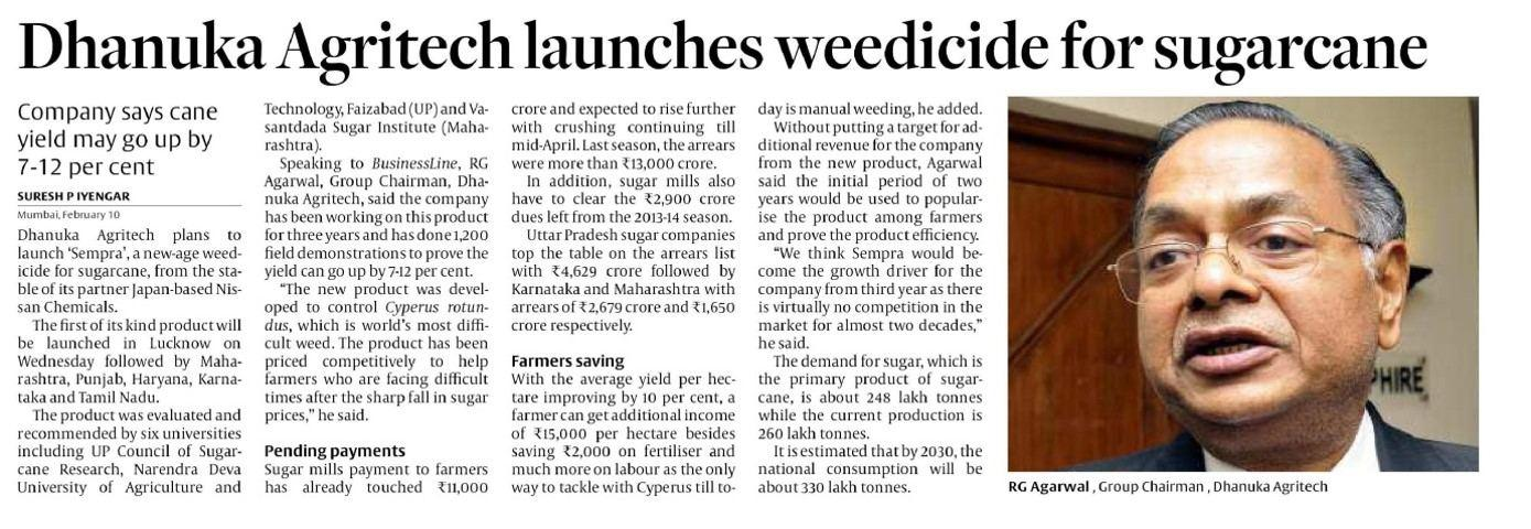 2015 Hindu Business Line - Launches weedicide for sugarcane