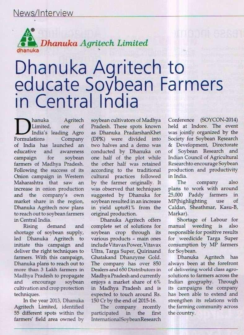 2014 Agritech India - DAL to educate soyabean farmers