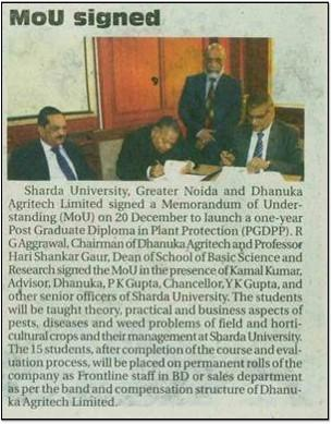 2019 The Statesman - MOU signed with Sharda University
