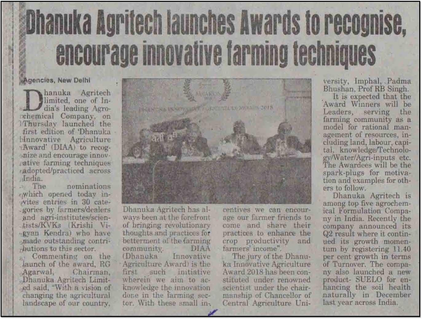 2018 Central Chronicle - Dhanuka launches awards for innovative farming techniques