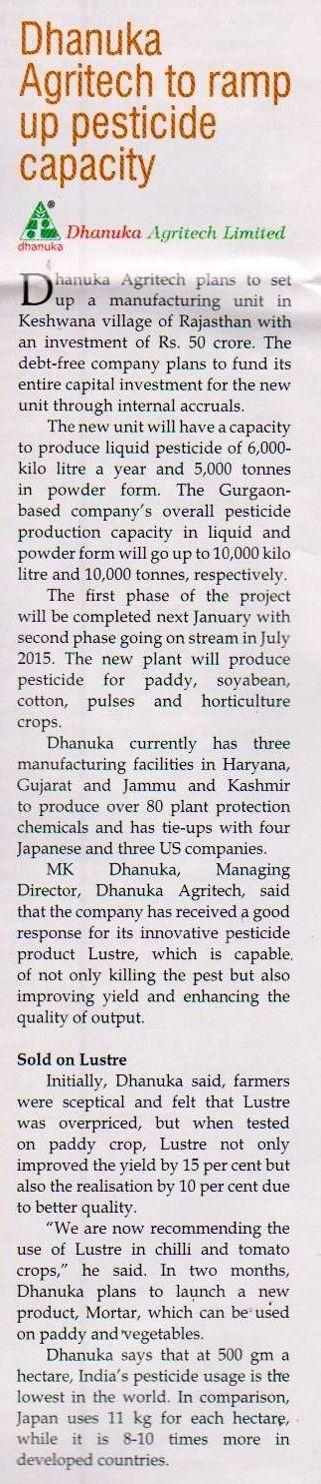 2014 Agritech India - DAL to ramp up pesticide capacity