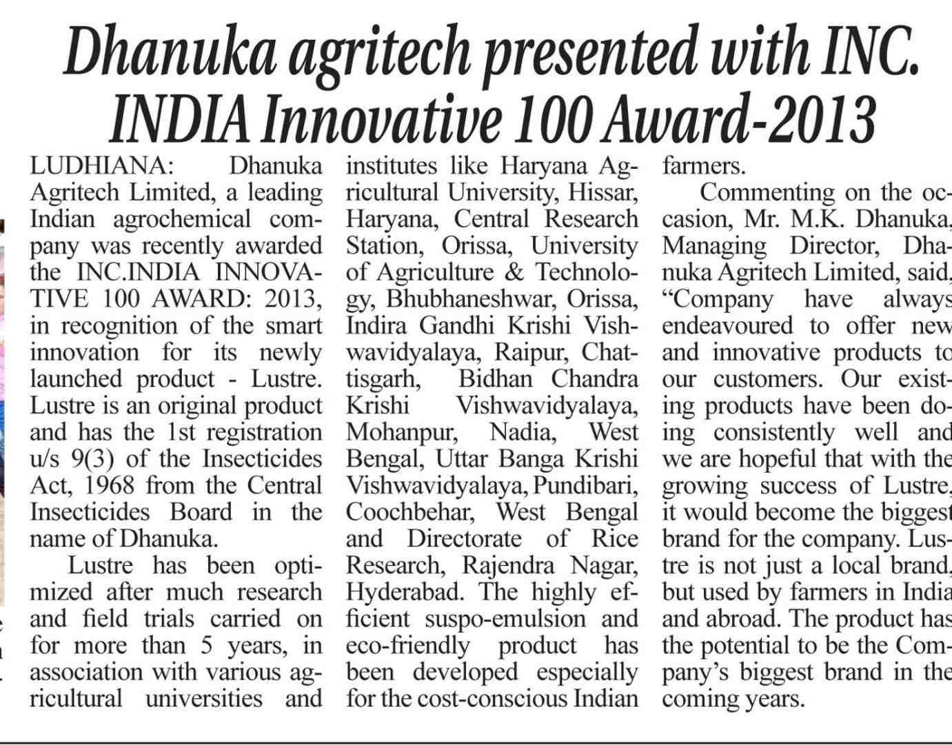 2014 Yugmarg - DAL presented with INC India Innovative Hudred Award
