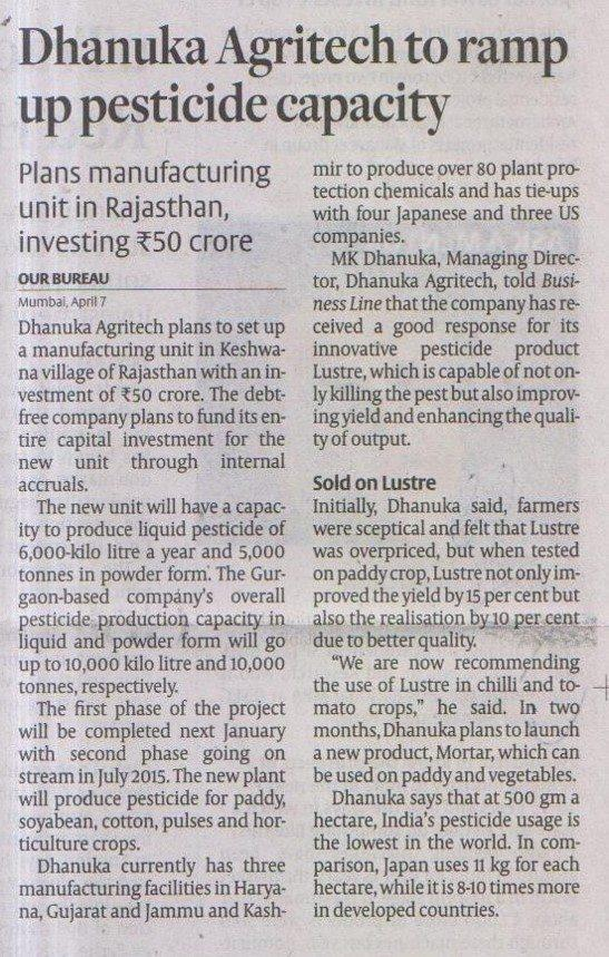 2014 Hindu Business Line - DAL to ramp up Peticide Capacitu